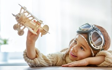 the plane, smile, helmet, glasses, children, toy, boy