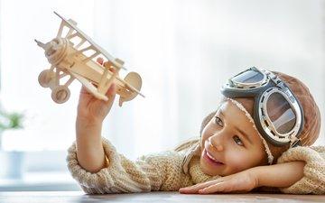 самолет, улыбка, шлем, очки, дети, игрушка, мальчик