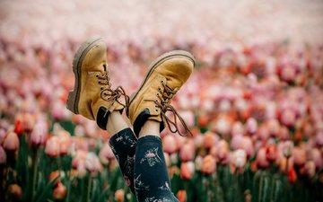 girl, spring, tulips