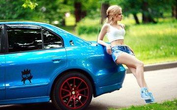 girl, blonde, machine, chest, legs, blue, shorts, t-shirt
