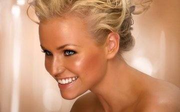 girl, blonde, smile, look, shoulders, face, blue eyes, makeup, hairstyle
