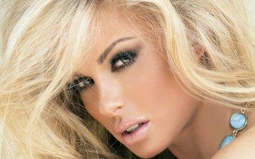 girl, blonde, look, model, hair, makeup, hairstyle