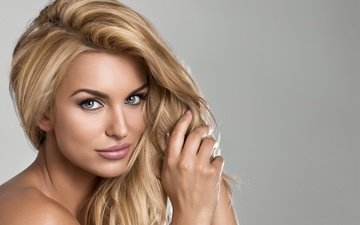 girl, blonde, look, hair, hands, makeup