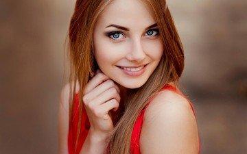 девушка, улыбка, портрет, взгляд, волосы, лицо, голубоглазая, волосаы