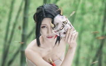девушка, маска, взгляд, азиатка