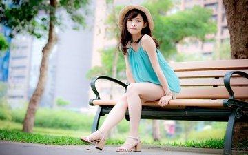 девушка, ножки, скамейка, шляпка, азиатка
