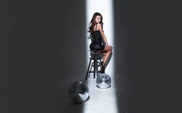 девушка, платье, стул, фотосессия