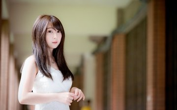 девушка, платье, взгляд, азиатка