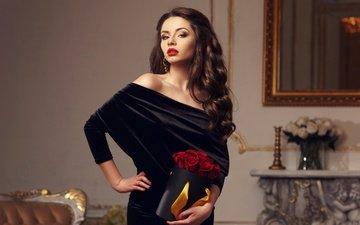 девушка, платье, взгляд, макияж, прическа, помада, розы красные, сережки