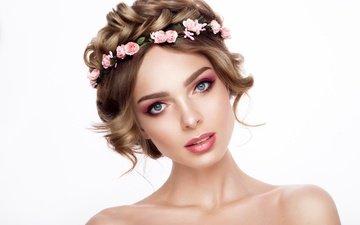 girl, roses, look, shoulders, makeup, hairstyle, wreath