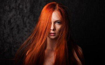 девушка, взгляд, волосы, лицо, макияж, рыжеволосая, голубоглазая