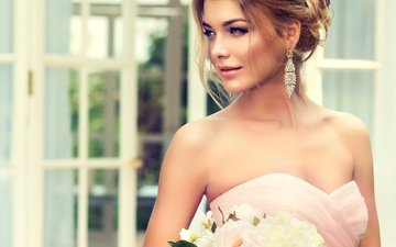 girl, look, makeup, hairstyle, wedding, the bride, the bride's bouquet
