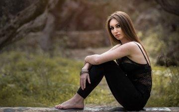 девушка, взгляд, модель, длинноволосая, ainara salmeron