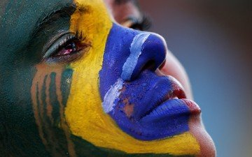 глаза, арт, девушка, портрет, цвет, краска, флаг, лицо, бразилия, слезы, крупным планом
