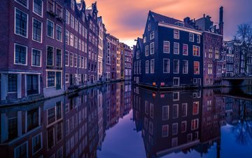 home, netherlands, channels, amsterdam, holland, evening city