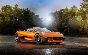 the sky, light, nature, glare, auto, orange, jaguar, asphalt, handsome, supercar