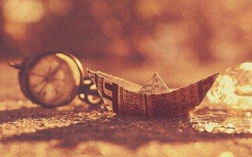 фон, газета, компас, кораблик, бумажный кораблик