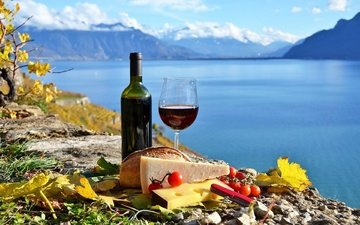 background, cheese, bread, wine