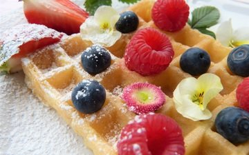 fruit, waffles