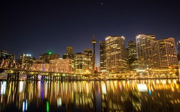 lights, reflection, the city, sydney, australia, harbour