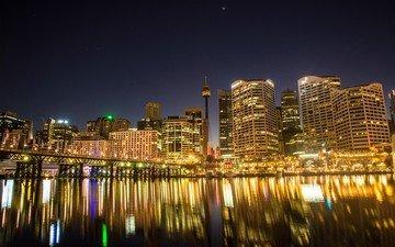 фонари, огни, отражение, город, сидней, австралия, гавань
