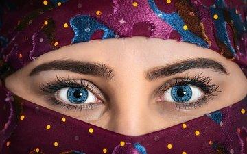 глаза, девушка, взгляд, нос, паранджа