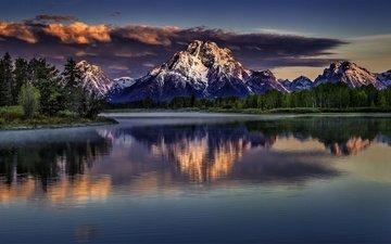 трава, облака, река, горы, гора, сша, вайоминг, гранд-титон, национальный парк гранд-титон