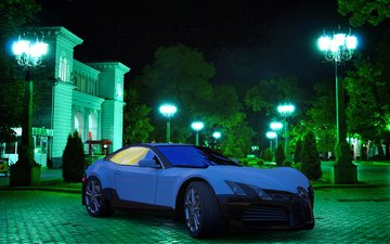 night, the city, hd, 3d, the concept, mercedes, kislovodsk