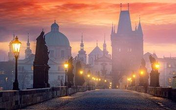 фонари, мост, город, статуи, прага, чехия, старый город