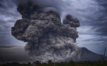 mountains, nature, smoke, the eruption, the volcano, ash, element