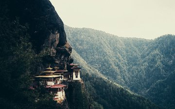 mountains, forest, asia, the monastery