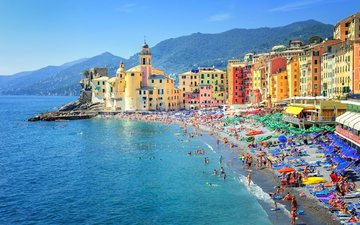 горы, море, пляж, лето, побережье, италия