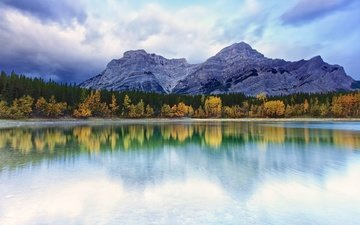 небо, облака, деревья, озеро, горы, природа, отражение, пейзаж, осень