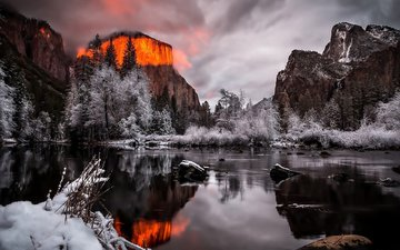 река, горы, скалы, снег, закат, зима, пейзаж, сша, йосемитский национальный парк, йосемите