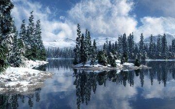небо, облака, горы, снег, природа, зима, отражение, деревья