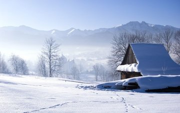 trees, mountains, snow, winter, landscape, house, traces