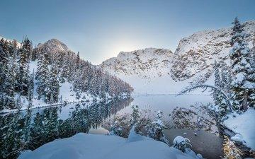 озеро, горы, снег, природа, зима, отражение, деревья