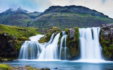 горы, водопад