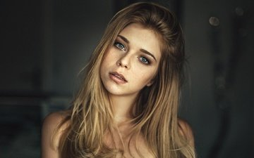eyes, girl, blonde, portrait, model, lips, face, actress, long hair, martin kuhn, yvonne michelle