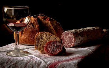 bread, wine, sausage