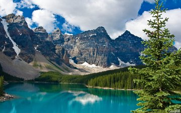 небо, деревья, озеро, горы, канада, парк джаспер