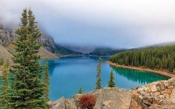 деревья, вода, озеро, горы, камни, лес, пейзаж, туман, канада, национальный парк банф