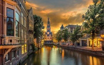 канал, башня, дома, нидерланды, алкмар