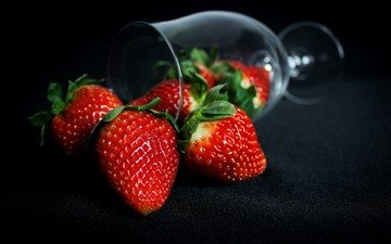 strawberry, glass, black background, berries
