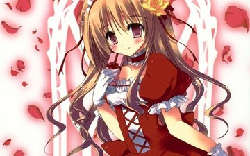 красное платье, блонд, оригинальная