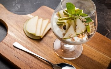 mint, glass, pear, yogurt