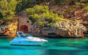 природа, море, скала, лодка, яхта, остров, испания, катер, утес, мальорка, майорка