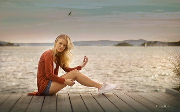 girl, sea, pose, blonde, pier, sneakers, sitting, legs, denim shorts, carl gia