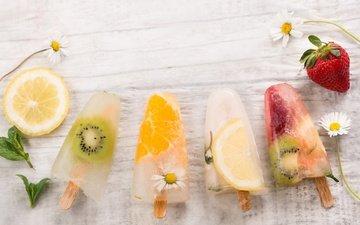 цветы, мороженое, клубника, лёд, ромашки, ягоды, апельсин, киви, сладкое, десерт, лимоны, фруктовый лед