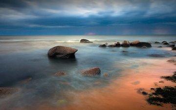 небо, берег, море, пляж, горизонт